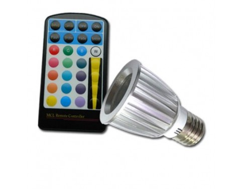 Color Changing 5W E27 RGB LED Spot Light Spotlight Bulb Lamp 16 Colors With Remote Controller