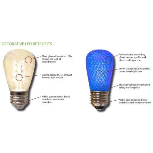 S14 LED Christmas Lamp Retrofit Light Bulbs, E26 Standard Base, Blue, Pack  of 25 - S14 LED Christmas Lamp Retrofit Light Bulbs, E26 Standard Base, Blue