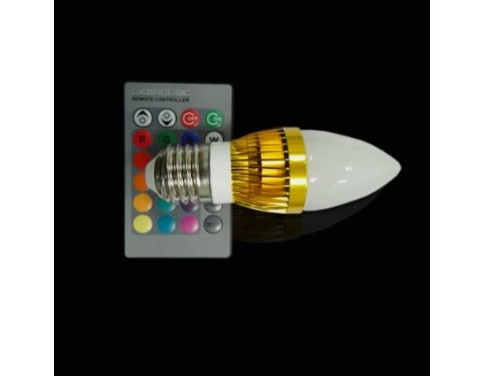 3W RGB LED Candelabra Bulb with Remote Controlled E27 Light