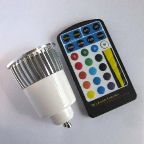 5w gu10 rgb led spot light spotlight bulb lamp 16 colors. Black Bedroom Furniture Sets. Home Design Ideas