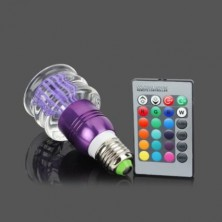 Acrylic Crystal LED Color Changing Light 3W Bulb With Remote E27 Lamp Purple