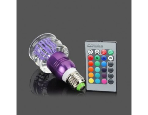 Acrylic Crystal Led Color Changing Light 3w Bulb With Remote E27