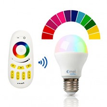 Color Changing Dimmable RGB LED Light Bulb E27 6W(50W) Touch Controlled Remote Combo