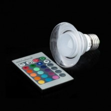 E27 3W RGB Light LED Crystal Bulb with Remote Controller