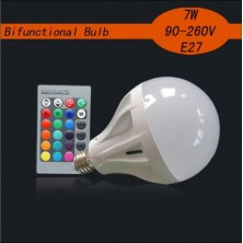 E27 7W RGB Dimmable White Lighting Bifunctional Bulb RGB Multicolored Remote Control Light Bulb