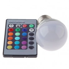 RGB 3W LED Light Bulb E27 16 Colors Changing With IR Wireless Remote Control