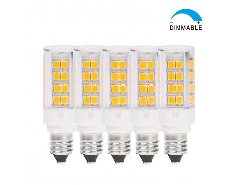 OmaiLighting Dimmable JD E11 Base LED Light Bulb Miniature Candelabra Base Soft White 35 Watt T4 JD E11 Base Halogen Light Bulb Pack of 5 Daylight White Color E11