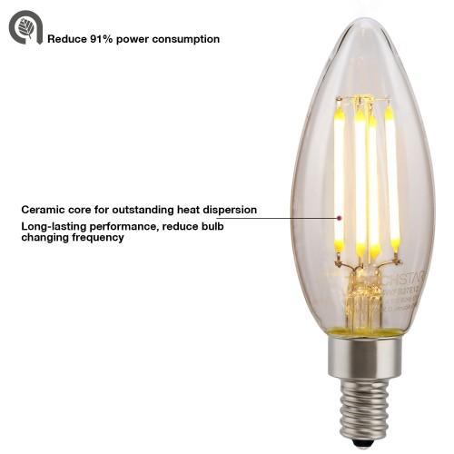 Led Filament Candelabra Bulb 3 6w 40w Equiv Ul Listed